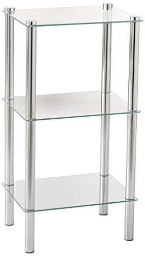 Home Basics 3-Tier Rectangle Shelf Shelving, SIlver Chrome and Glass