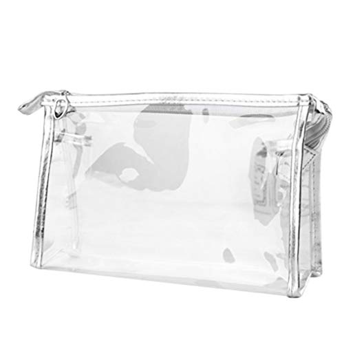 Inverlee 1X Clear Transparent Plastic PVC Travel Cosmetic Make up Toiletry Bag Zipper (Silver)