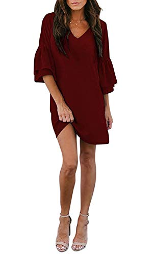 noabat Casual Summer Dresses for Women Wine Red 3/4 Bell Sleeves Short Dress Large
