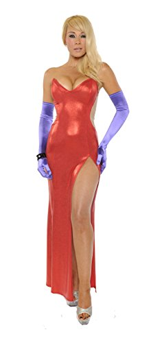 Nom de Plume, Inc Sexy Heart Shape Jessica Rabbit Gown With Gloves Medium Red ()