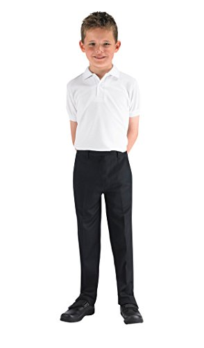 Boys Trouser Slim Black Quality 4d Leg Uniform Up Pants Pull BqPR7R