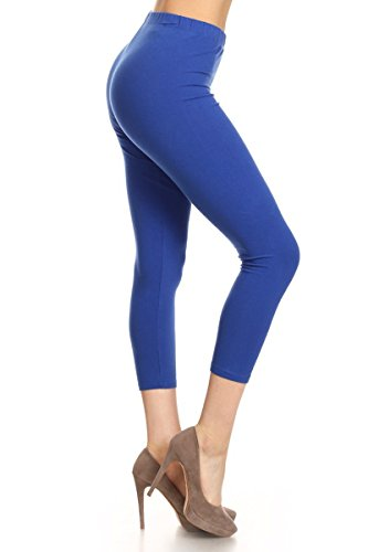 Royal Blue Womens Capris (Leggings Depot Women's Premium Cotton Soft Capri Yoga Pants NCL27 (XL, Royal Blue))