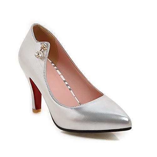 Silver SDC05890 AdeeSu 36 5 Compensées Sandales Argenté Femme PaqXad