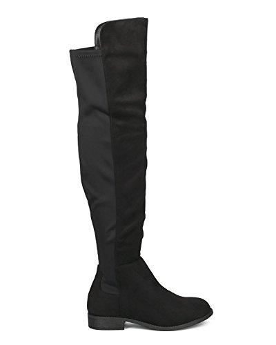 Frauen Oberschenkel hohe flache Reitstiefel Mode bequeme zwei Ton dehnbar Pull auf Low Block Heel Overknee Stiefel von ShoBeautiful (TM) Schwarz