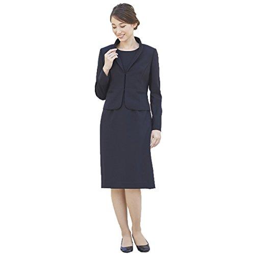シャックル政令幸運[B-GALLERY] お受験スーツ アンサンブル [フリルスタンドカラージャケット&ワンピース] 日本製 ウール100% 7号~13号 ネイビー
