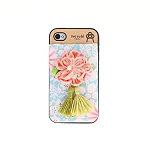 Zaki- Korean Version Cloth Flowers Series Style Blue Bottom Pink Flowers Pattern Plastic Hard Case for iPhone 4/4S