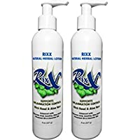 2-pack Rixx Deep Moisturizing Herbal Lotion with Aloe Vera, Omega 3 Oil, Witch Hazel, Hyaluranic Acid, Shea Butter, & Essential Oils | Natural | Moisturizing | Made in USA