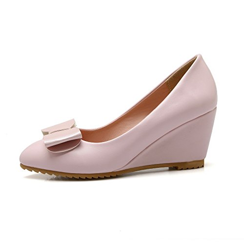 AllhqFashion Womens Pointed Closed Toe High-Heels Soft Material Solid Pull-on Pumps-Shoes, Pink, 33