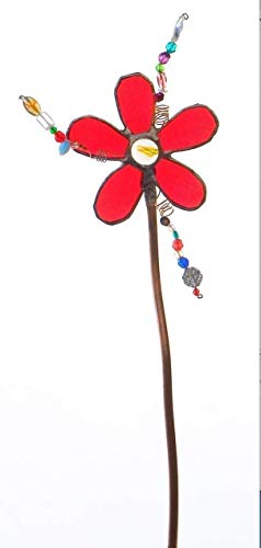 Stained glass Flower Garden Stake, Ornamental Glass for your Garden