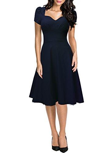 Missmay Womens Vintage Style Retro 1940s Shirtwaist Flared Evening Tea Dress Swing Skaters XXL Navy blue: Amazon.co.uk: Clothing