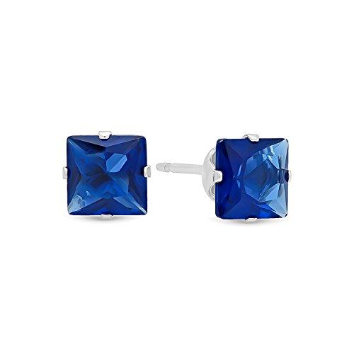 blue square stud earrings - 9