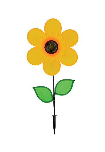 - In the Breeze Best Selling 12 Inch Yellow Sunflower Wind Spinner with Leaves - Includes Ground Stake - Colorful Flower for your Yard and Garden