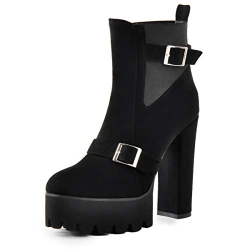Onlymaker Women's Buckle Strap Ankle Boots Platform Round Toe Chunky High Heel Pull on Ankle Booties Black 12 M US