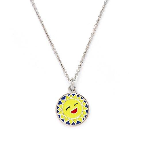 Girls Silver Rhodium Plated Wishes Sunshine Pendant Expandable (Avery Brass Pendant)