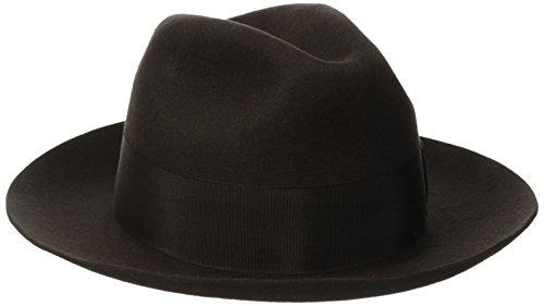 Stacy Adams Men's Cannery Row Wool Felt Fedora Hat, Chocolate, Medium -