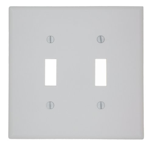 Leviton 80509-W 2-Toggle Midway Size Wall Plate, 2 Gang, 4.88 In L X 4.94 In W 0.255 In T, Smooth 1-Pack White