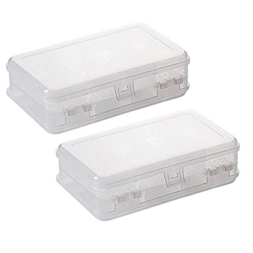 2Pcs Clear Double Layer Plastic Jewelry Box Organizer Storage Container for Earrings, Necklaces, Rings, Bead, Fishing Tackle, Jewelry, Pins, Hair Clips, Screws, Small Items Craft Box Case (10 Grid) (Bead Pin Craft)