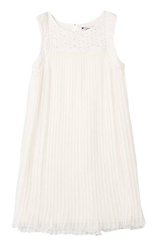 Pleat Dress (Speechless Big Girls' Eyelit Neck Crystal Pleat Dress, Off White, 12)