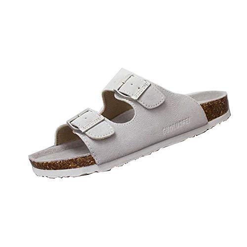 Asifn Women's Sandal Cork Sandals Slide Flat Strap Buckle Girl Leather Footbed Adjustable Casual Double Toe Shoes Summer Open Platform Suede Slides White(6 US Men/7 US Women,23.5 cm Heel to Toe (Flat Slide Sandals Buckle)