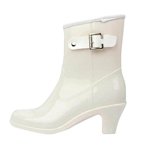 LvRao Botas Tacón Alto de Lluvia Nieve Botines Lisas de las Mujeres Zapatos de Gama Resistente al Agua Blanco