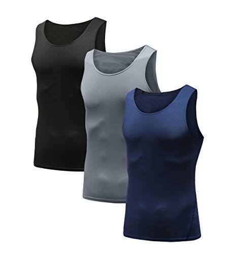 HIBETY Men's 3 Packs Sleeveless Compression Tank Top,Baselayer Cool Dry Compression Shirts Muscle Gym Tank