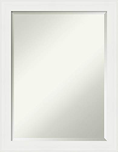 Amanti Art Bathroom Vanity White Narrow Frame | Wall Mounted Mirror, Glass Size 18x24,