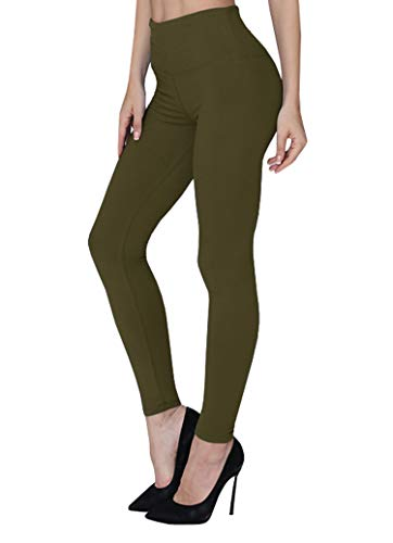 Changger Womens Leggings High Waisted Tummy Control Workout Yoga Pants with Soft Waistband Army Green
