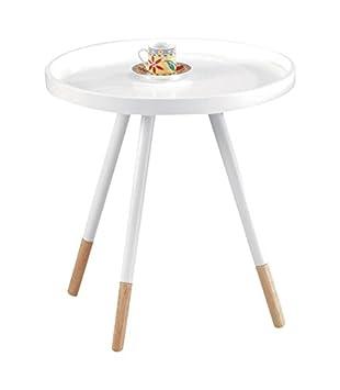 tuoni kim tavolino, piedi rifiniti, legno laccato, bianco/rovere ... - Tavolino Laccato Company