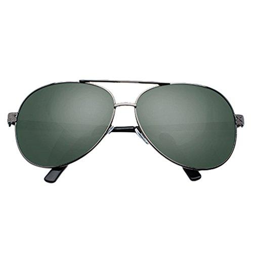 Polarisées UV Eyewear Lunettes Cadre Métal Protection Double de Femmes Lentille Aviateur Hommes Pont LINNUO Sunglasses 1vert Driving Soleil xwXAYBq4U