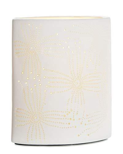 aus Porzellan mit Lochmuster im Prickellook H 20 cm GILDE Lampe Blatt