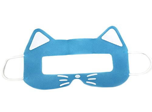 NIJNAS VR Mask Cat 100pcs – Disposable Sanitary Face Cover for HTC Vive, PS VR, Gear VR, Oculus RIFT and ETC (Blue Cat)