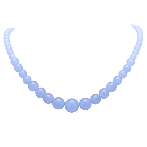 Paialco Women's Graduated Necklace Ocean Blue Chalcedony Beads Round Polished Strand 6-14MM, 16 - Agate Necklace Beaded Blue