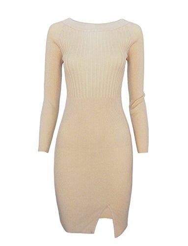 TAM WARE Women Stylish Slim Fit Knit Sweater Boat Neck Bodycon Dress TWCWD078-BEIGE-US L (Neck Around Dress)
