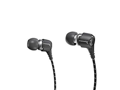 Soniq USA SE500 Pulse Earbuds Active Stereo Noise Isolation Earphones Black/Chrome