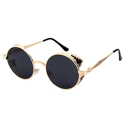 GQUEEN Retro Round Steampunk Polarized Sunglasses - Steampunk Sunglasses Polarized
