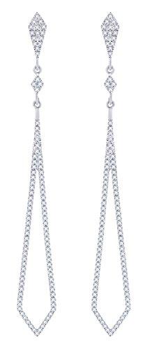 Rount Cut White Natural Diamond Pave Open Arrow-Stiletto Dangle Earring in 14K White Gold (0.42 Ct)