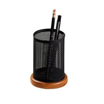 "Rolodex Distinctions Metal & Wood Pencil Cup, 3-1/2"" Diameter x 4-1/2"", Black/Cherry (1813862)"