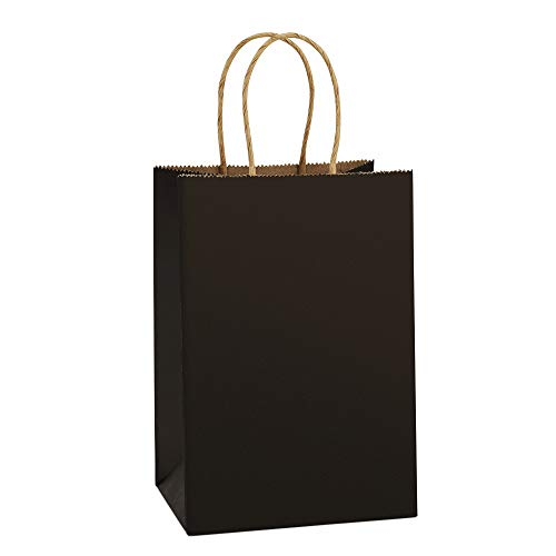 BagDream Kraft Paper Bags 25Pcs 5.25x3.75x8 Inches Small Paper Gift Bags Shopping Bags, Kraft Bags, Party Bags, Black Bags with Handles Bulk -