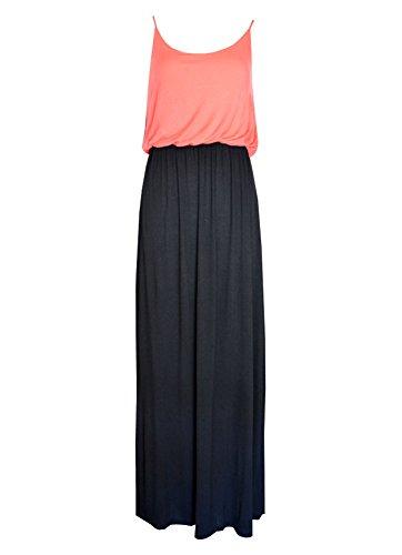 MonsterCloset Maxi Dress w/ Bra Strap and Elastic Waist Band (Large, Black/Coral)