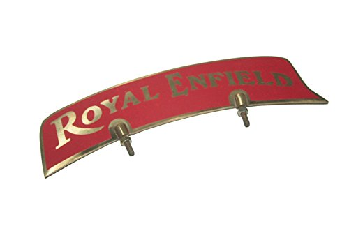 RS Vintage Parts RSV-B00ZFS9S3W-01627 Motorcycle Parts Royal Enfield Brass Made Red Sticker Front Mudguard Number Plate