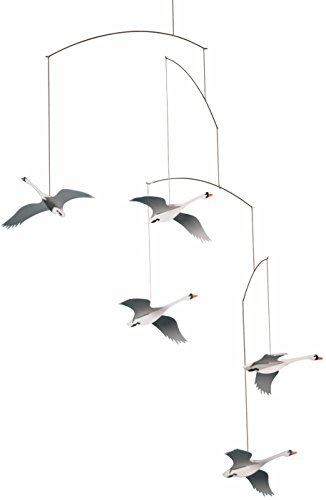 Flensted Mobiles Scandinavian Swan Hanging Mobile - 22 Inches - Kinetic Mobile