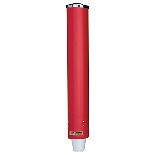 TableTop King C4210PRD Pull-Type Red 4 - 10 oz. Paper and Plastic Cup Dispenser - 23 1/2'' Long by TableTop King