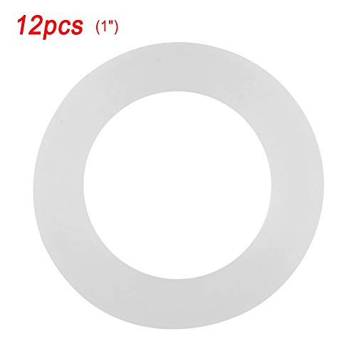 (Washer Ring White Flat Rubber Seal Gasket Replacement for Pipe, Water Tap and Sprayer Connection, 12 Pieces (1)