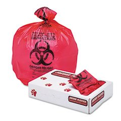 * Health Care ''Biohazard'' Printed Liners, 1.3mil, 24 x 32, Red, 250/Cart