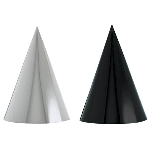 Amscan Classic Foil Cone Any Occasion Party Hats, Black/Whit
