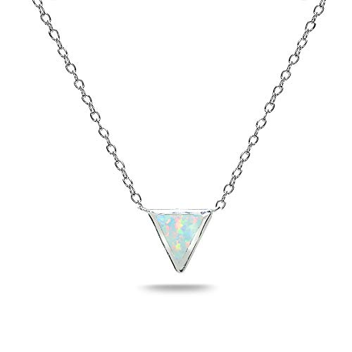 - Sterling Silver Polished Simulated White Opal Triangle Minimalist Dainty Necklace