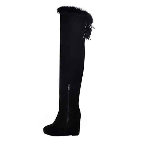 ENMAYER Frauen Nubuck Leder Frauen Over-the-Knie Stiefel Runde Toe Wedges mit Winter Pelz Stiefel Schwarz