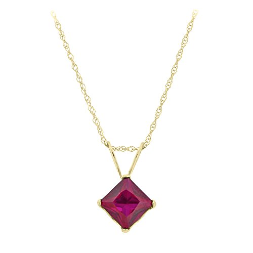 5MM Square Red Ruby 10K Pendant 18