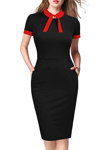 (WOOSEA Womens Short Sleeve Colorblock Slim Bodycon Business Pencil Dress with Pockets)