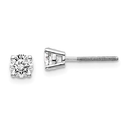 14kw .60ct SI3 G-I Diamond Stud Thread on/off Post Earrings, 14 kt White Gold